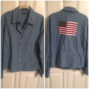 FACONNABLE | Blouse Denim American Flag on Back XL